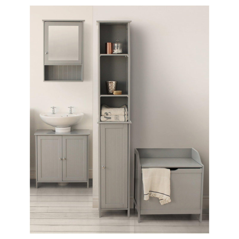 Grey-painted bathroom units