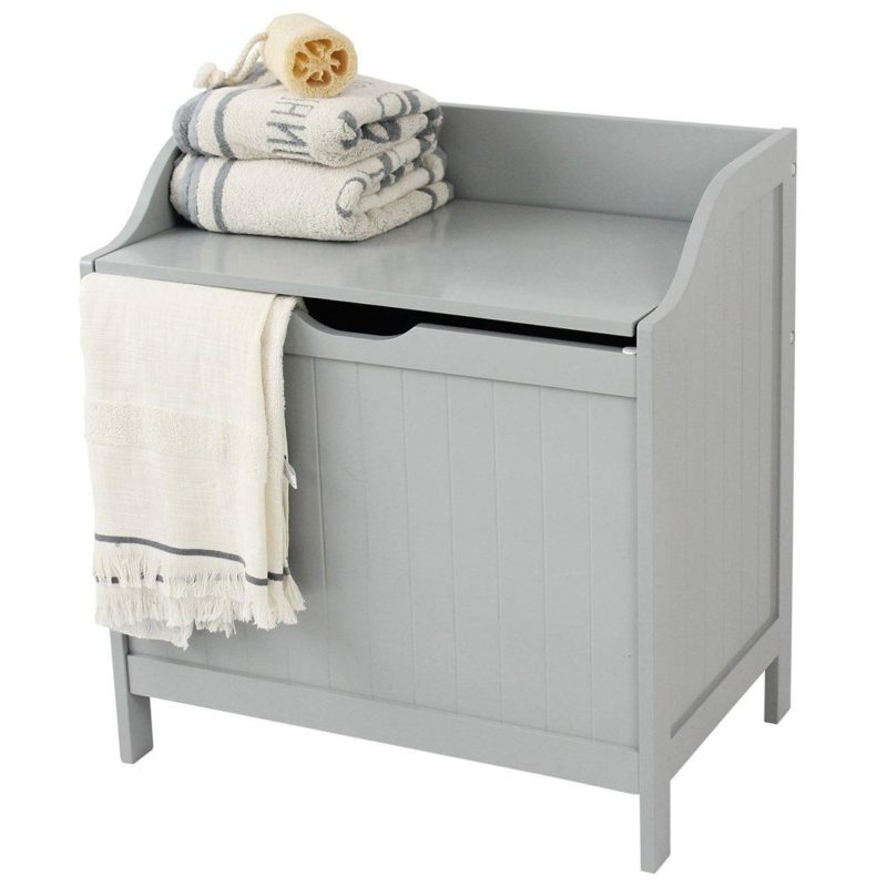Grey painted wooden laundry hamper