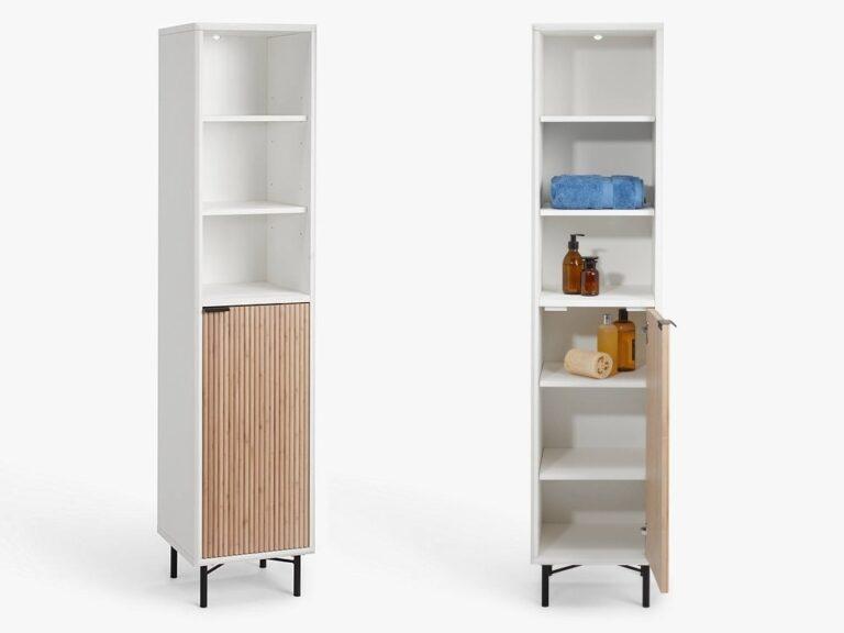 Free-standing bathroom cabinets with ridge-pattern doors