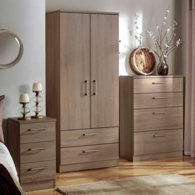Oak finish bedroom furniture
