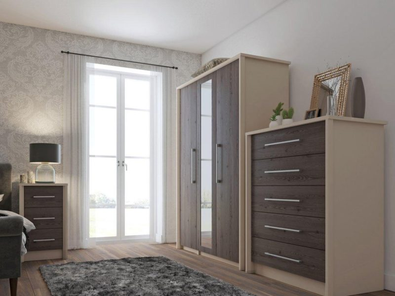 Taupe bedroom furniture with dark woodgrain doors