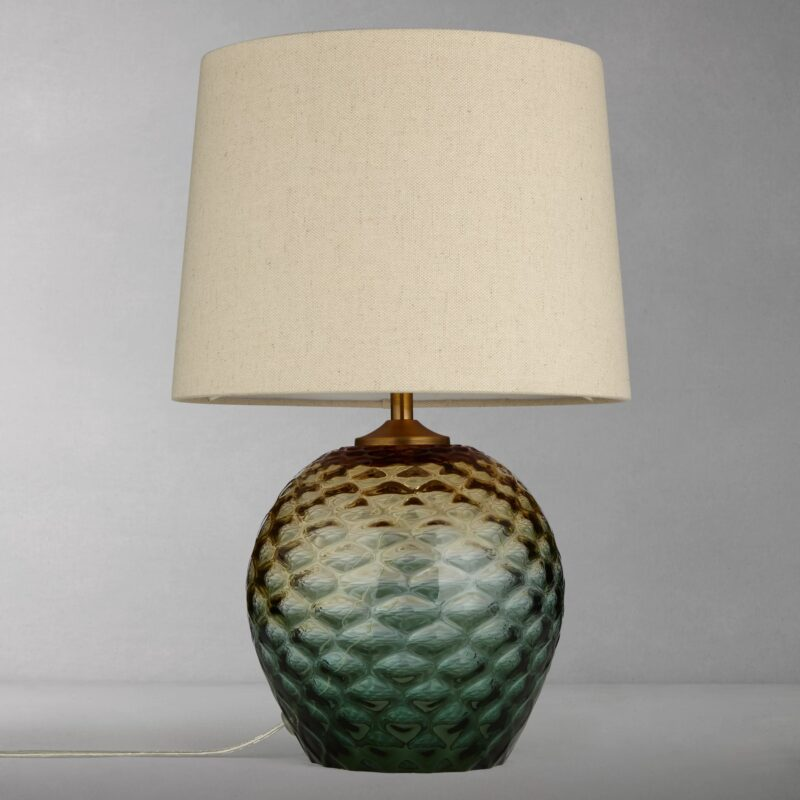 Textured glass lamp with linen shade