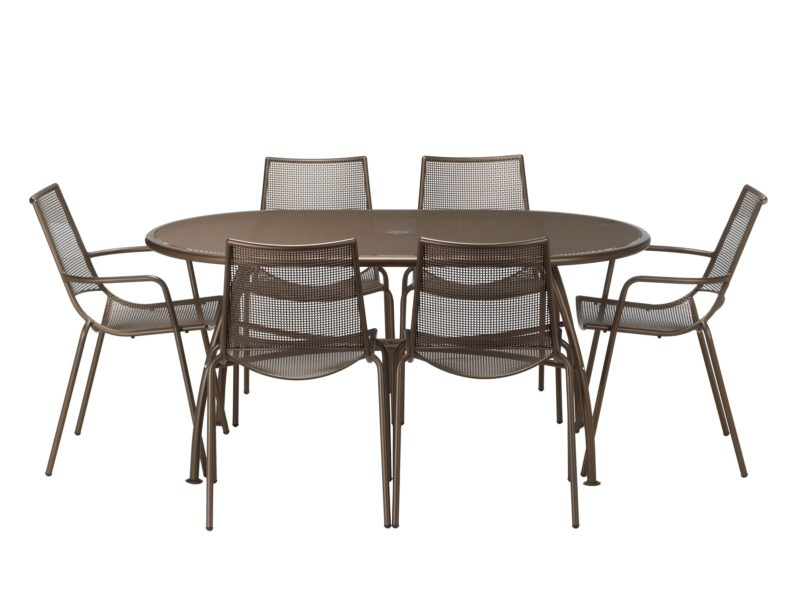 6 seater metal garden table and chair set