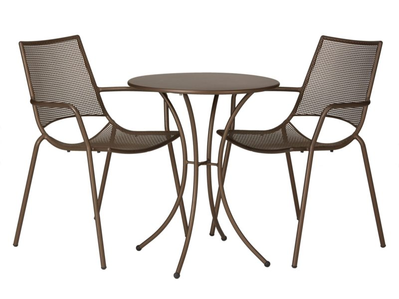 Small round metal garden table and 2 chairs