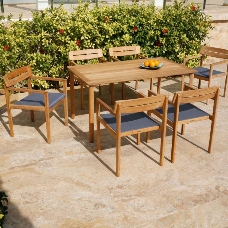 Teak garden dining table and 6 chairs