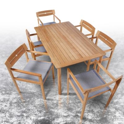 Teak outdoor dining table and six chairs