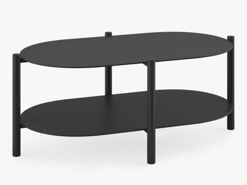 Black oval shaped outdoor coffee table
