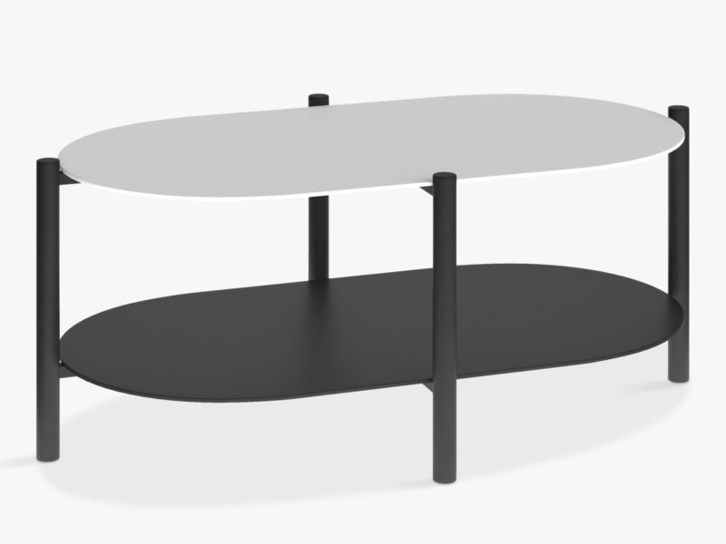 Black and taupe oval shaped coffee table