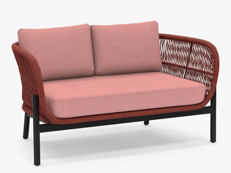 Terracotta rope weave 2-seater sofa