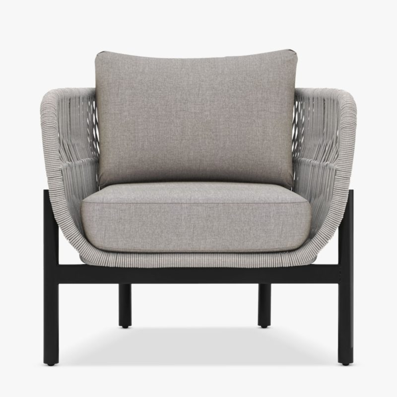 Natural rope weave armchair with grey cushions
