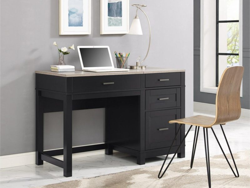 Black-painted desk with wooden top