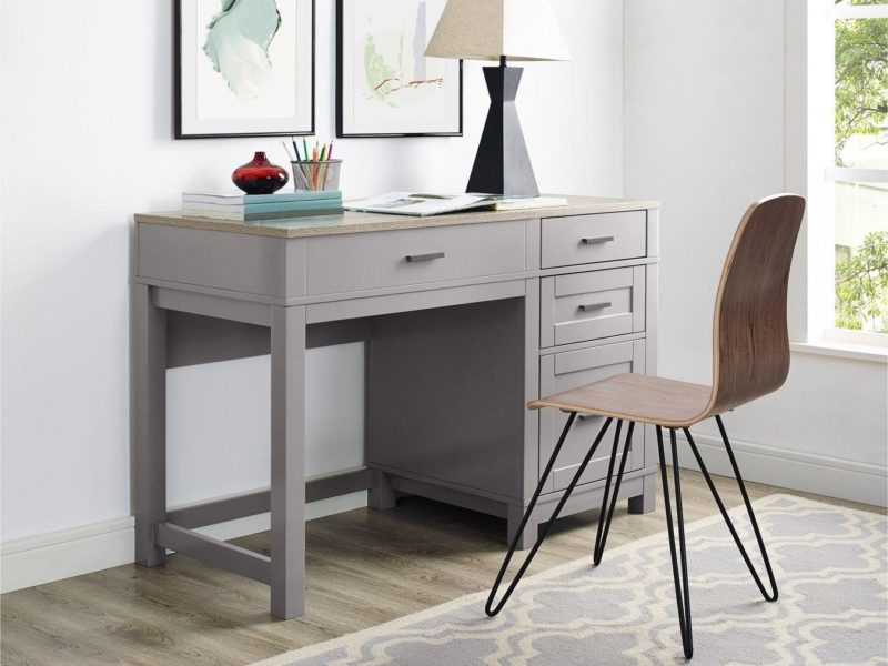 Grey-painted desk with wooden top