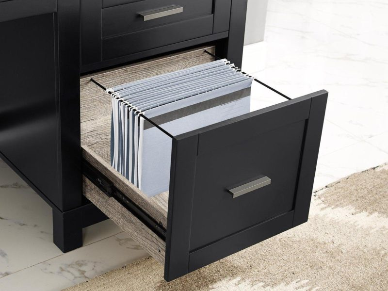 Lower drawer with suspension files