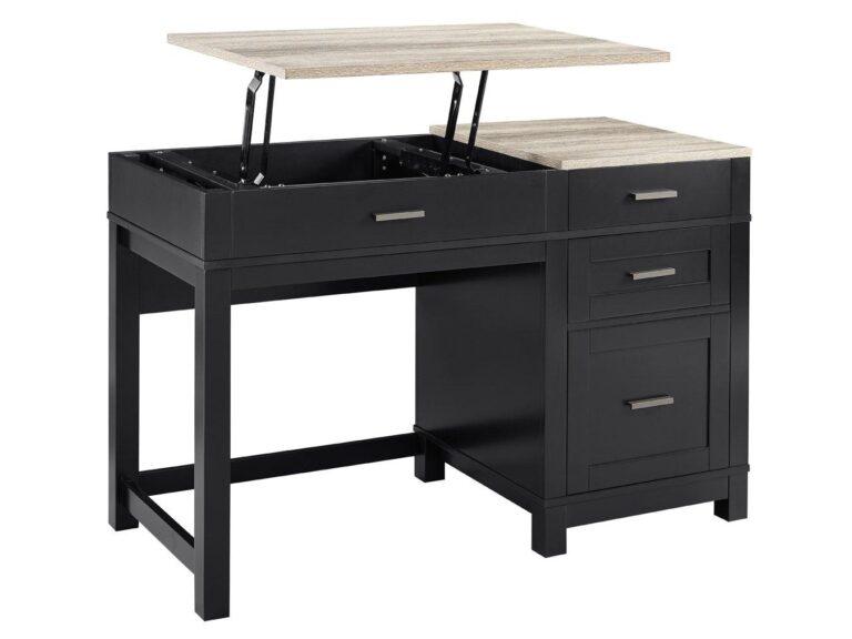 Black desk with raised top