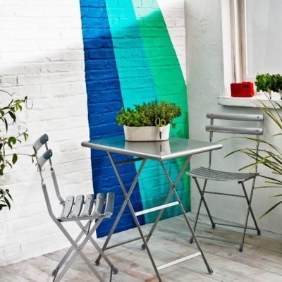 Grey metal bistro set
