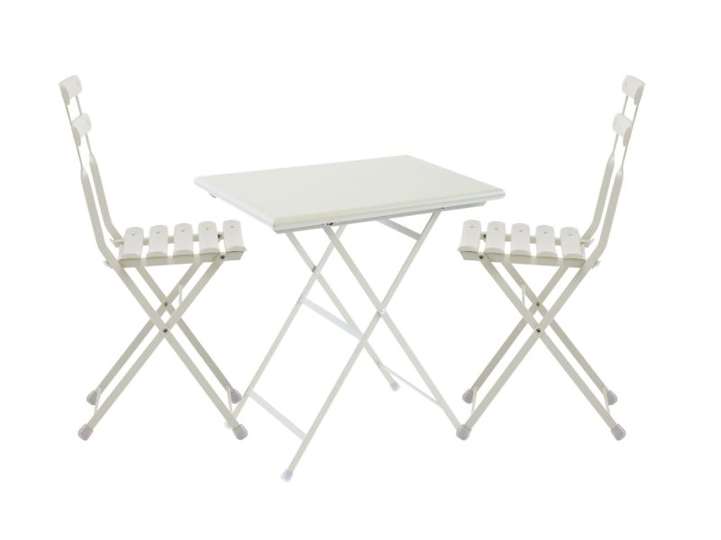 Cream painted metal bistro table and chairs
