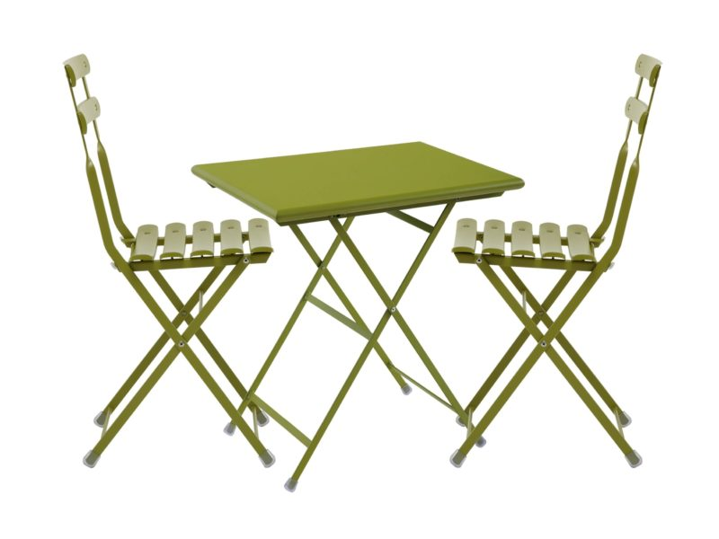 Green painted outdoor table and chair set