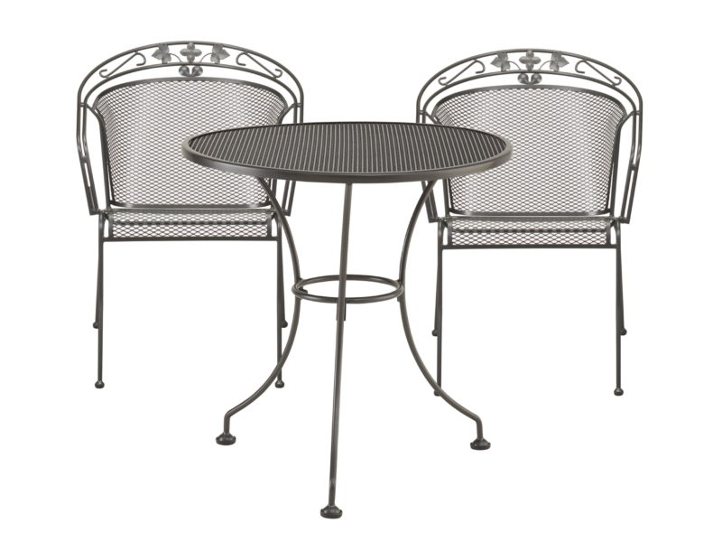 Outdoor metal bistro table and 2 chairs