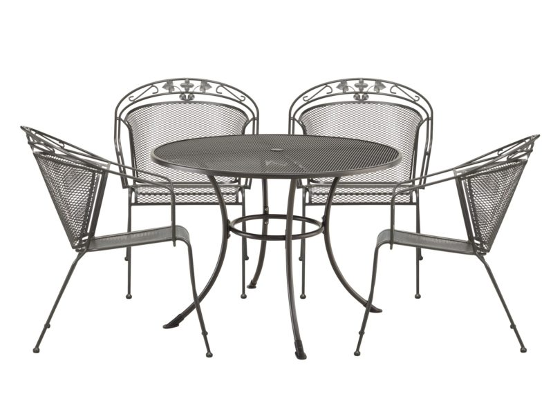 Round metal outdoor dining table and 4 chairs