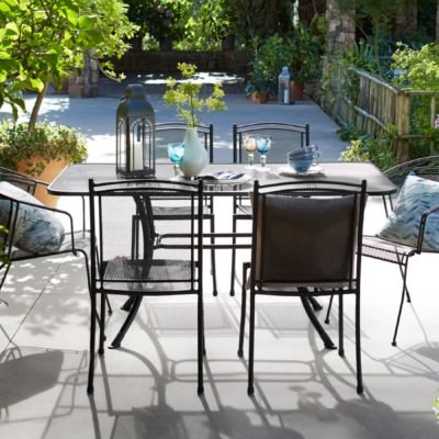 Metal outdoor dining table and chairs