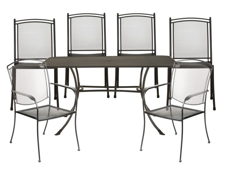 Outdoor metal dining table and 6 chairs