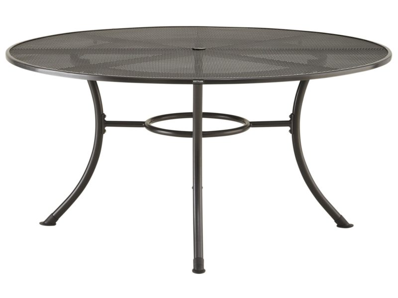Round metal 6-seater outdoor dining table
