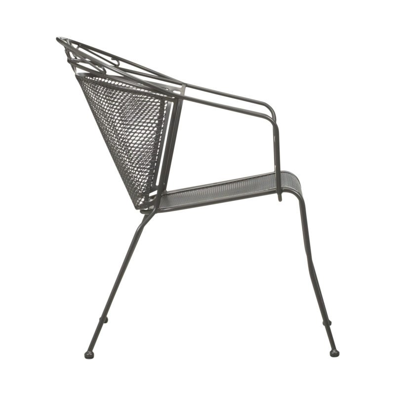 Metal, rounded back outdoor dining chair