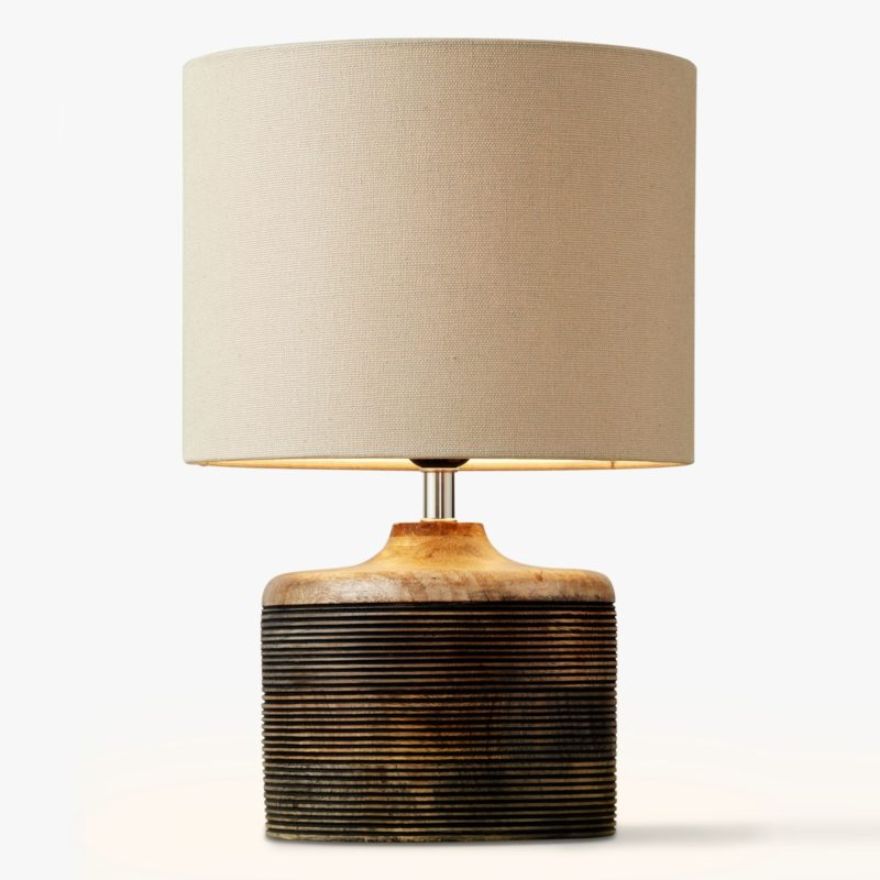 Lamp with carved wooden base