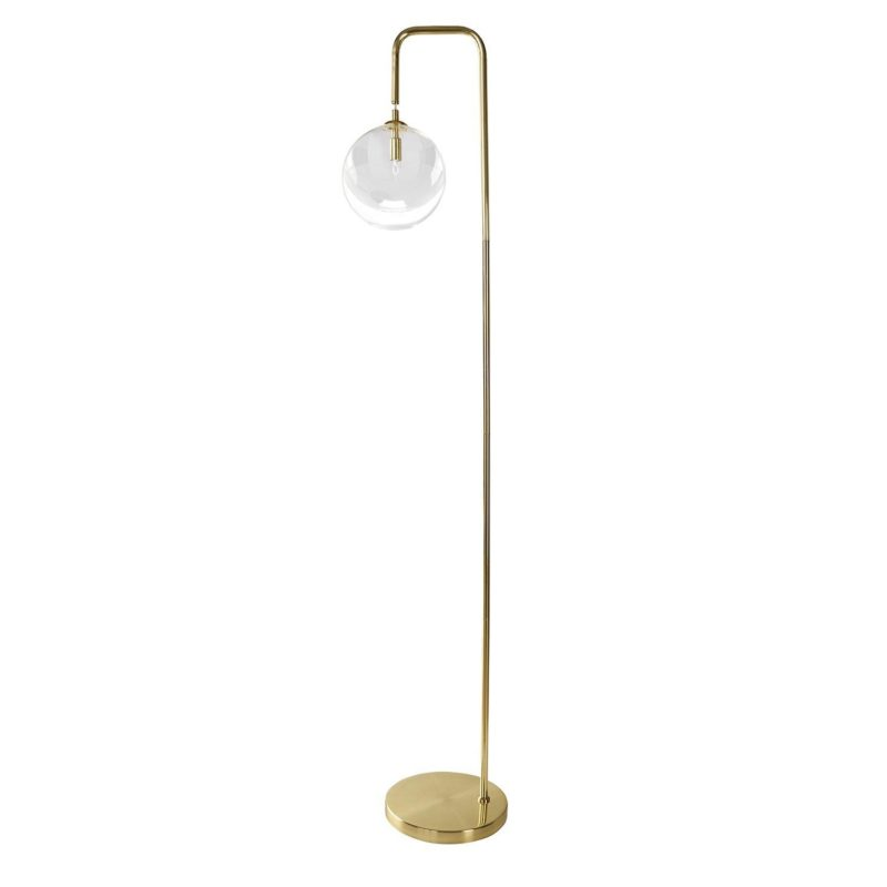 Brass floor lamp with large glass ball light fitting