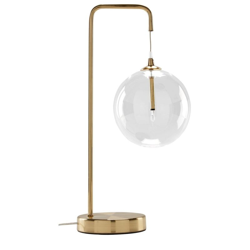 Satin brass table lamp with ball-shaped light