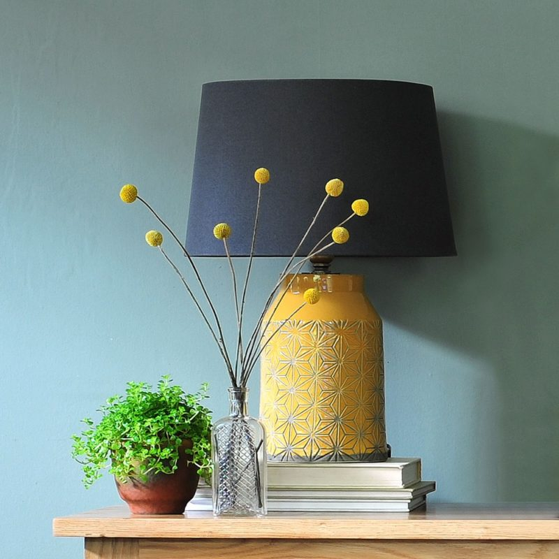 Terracotta lamp base with navy linen shade