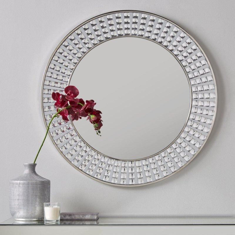 Circular wall mirror with Diamante surround