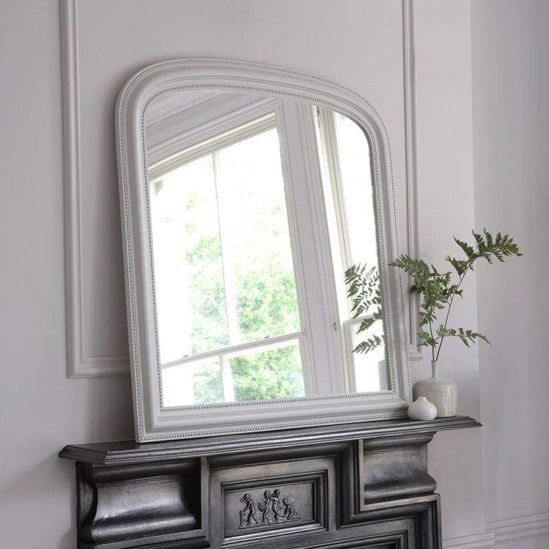 Mantel style mirror with grey frame