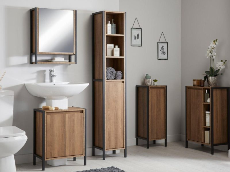 Industrial style bathroom cabinets