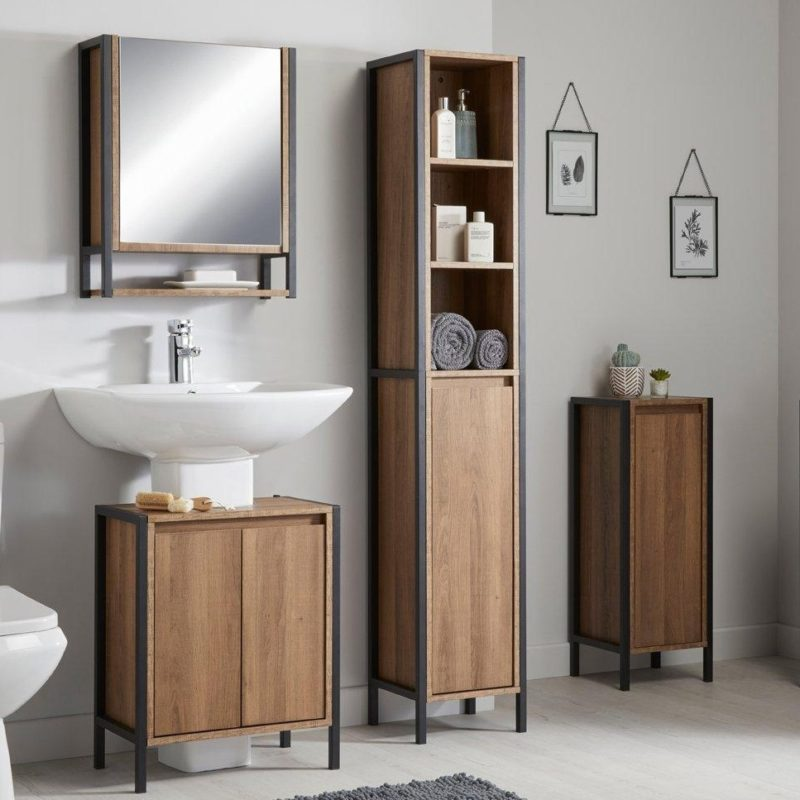 Walnut and black metal bathroom cabinets