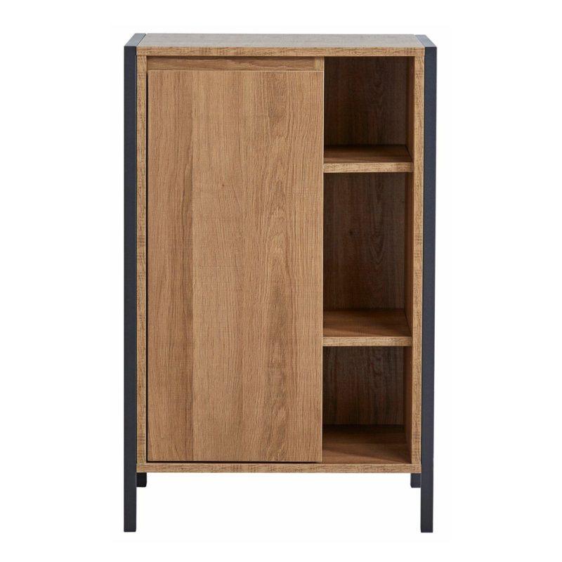 Bathroom cupboard with single door, open shelving and a mango wood finish