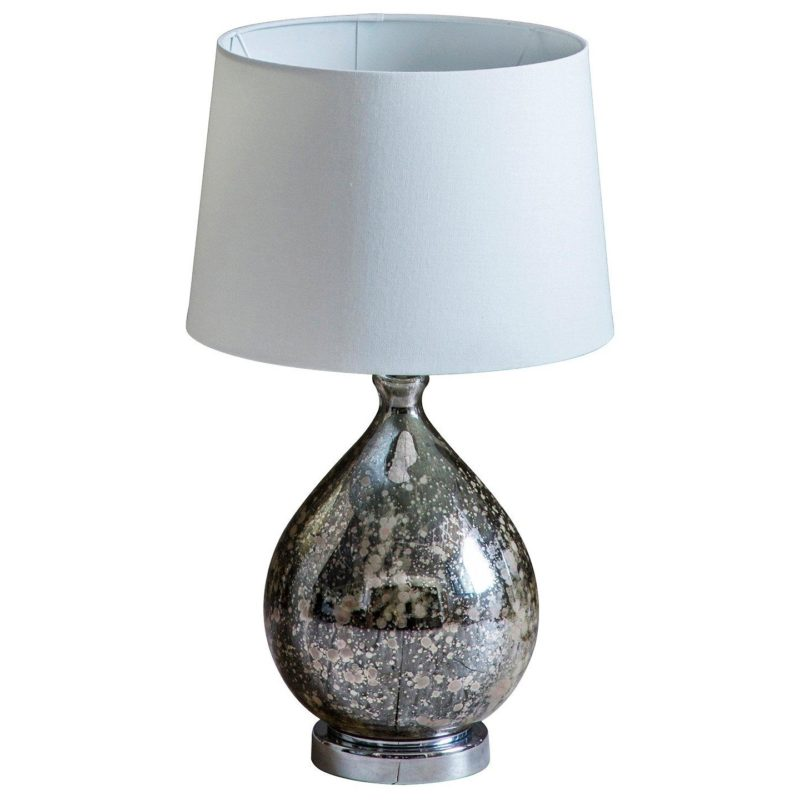 Table lamp with mottled glass base