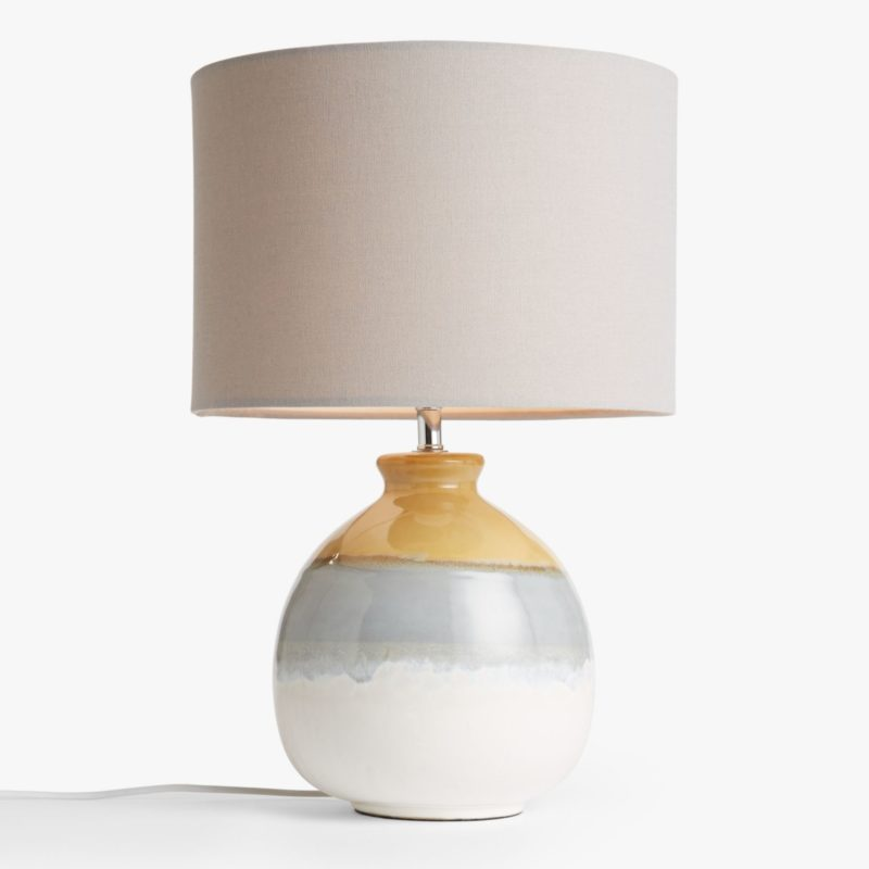 Lamp with painted ceramic base and grey linen shade