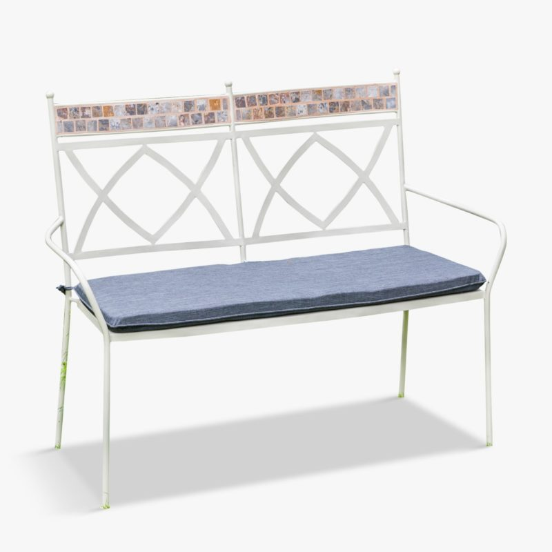 Garden bench with mosaic pattern back rests