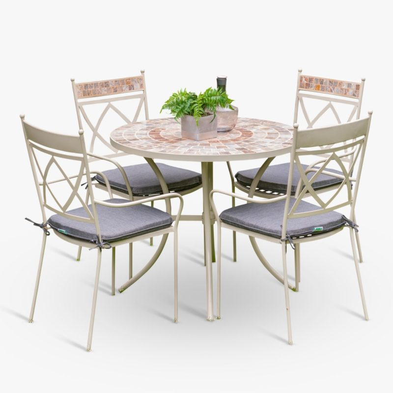 Mosaic top garden table and 4 matching chairs