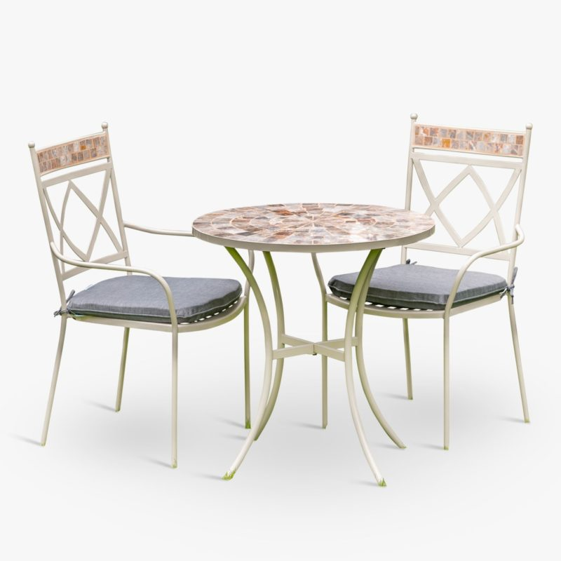 Mosaic top table and two matching chairs