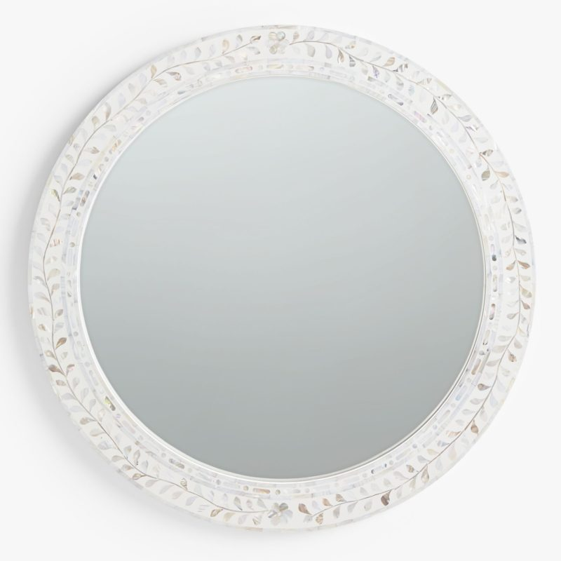 Round mirror with mother of pearl inlaid frame
