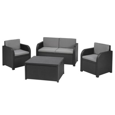Dark grey rattan outdoor furniture set