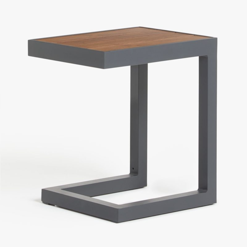 Grey metal side table with woodgrain top