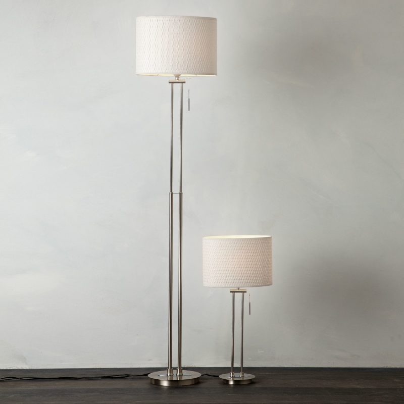 Floor and matching table lamp with twin stem design