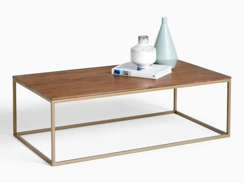 Walnut coffee table with metal frame