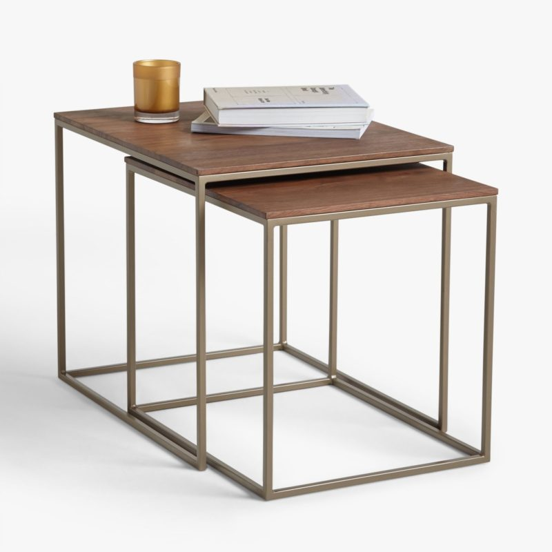 Pair of metal frame tables with wood tops