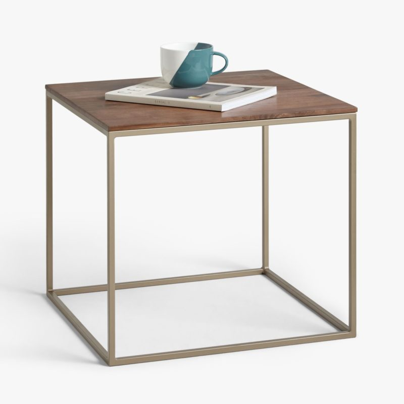 Square metal frame side table with walnut top