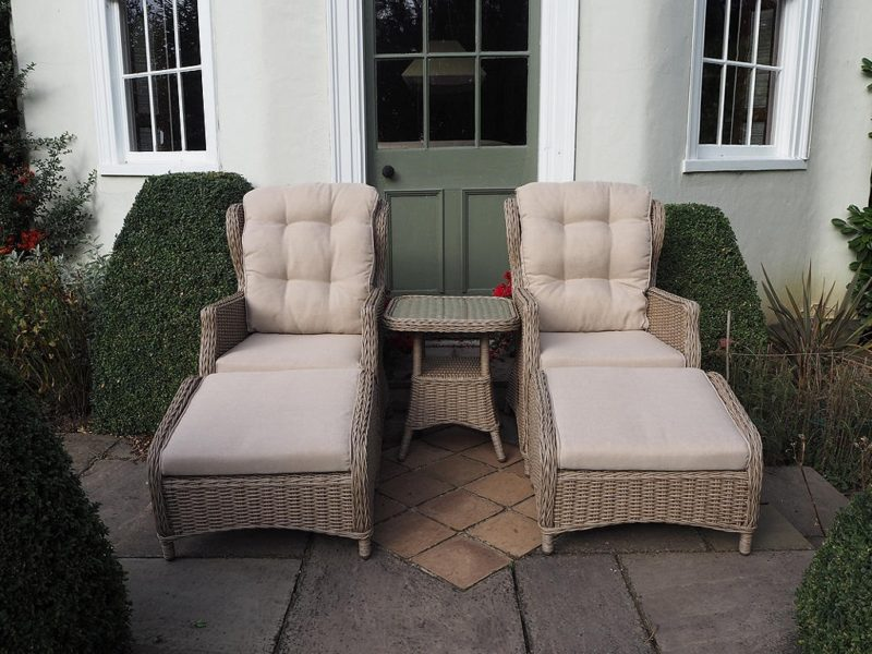 Twin relaxer garden chairs and small table