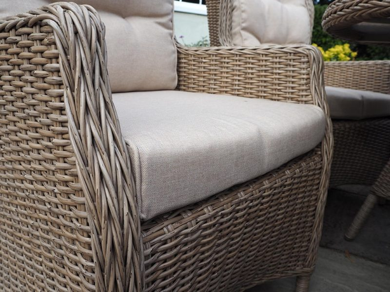 Rattan chair with arrow weave finish